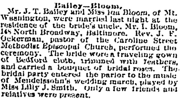 The (Baltimore) Sun, 06 Nov 1891: Marriage Announcement
