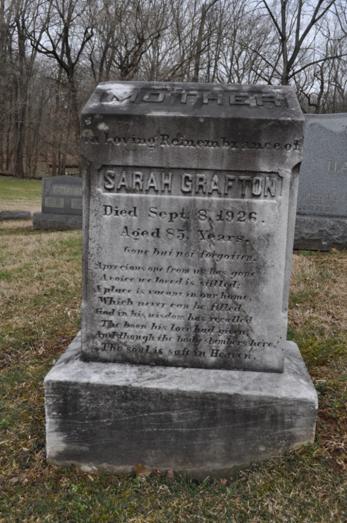 Tombstone of Sarah Grafton